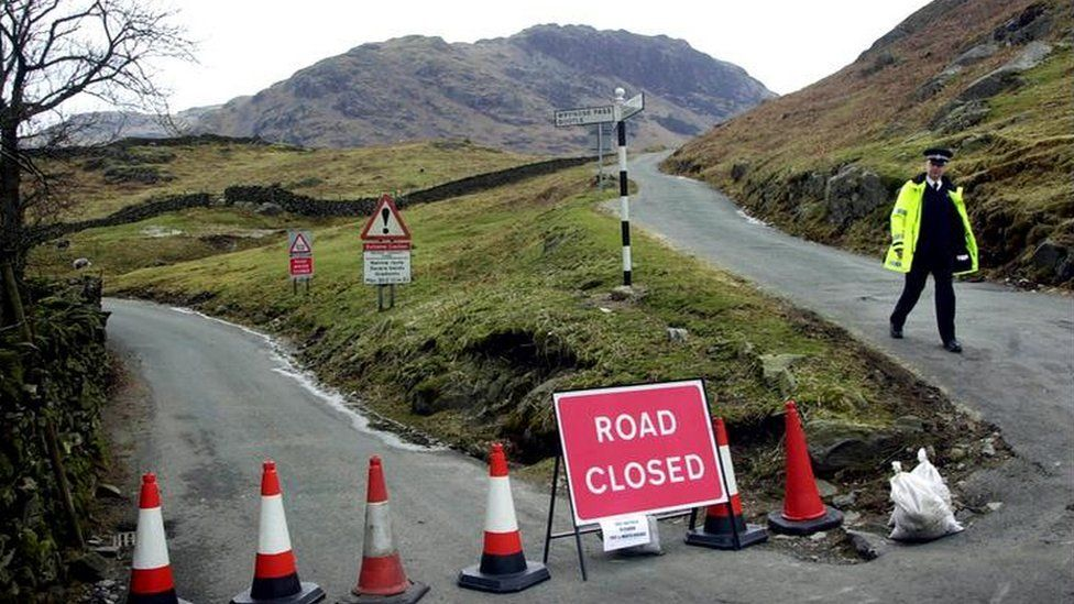 Road block in Cumbria due to Foot and Mouth