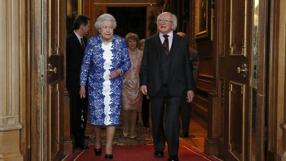 The Queen and Michael D Higgins attending a Northern Ireland-themed reception at Windsor Castle in 2014