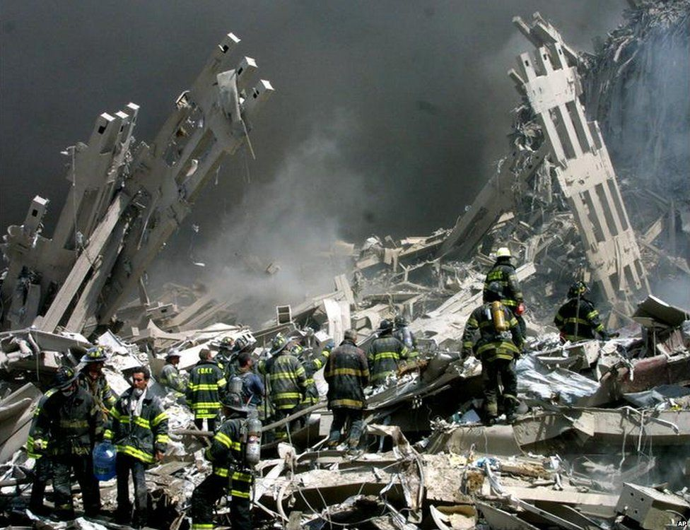 Rescuers at the World Trade Centre site