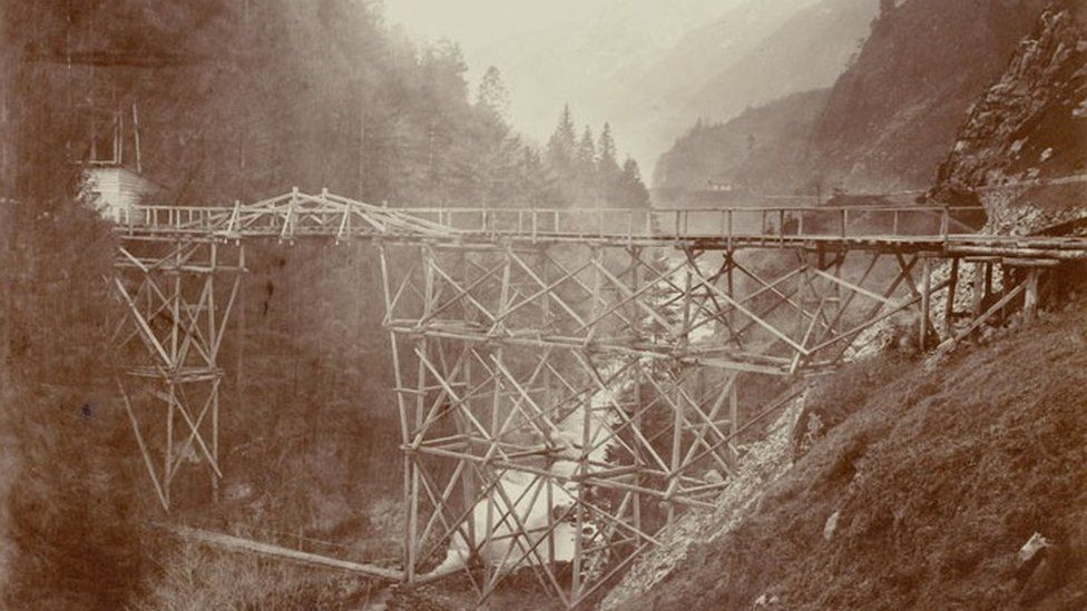 Construction on the first Gotthard rail tunnel in 1881 pic courtesy Canton Uri State Archives/alptransit-portal.ch
