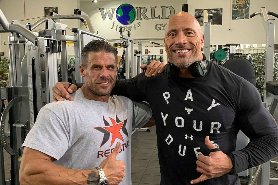 Dwayne The Rock Johnson Works Out At Doncaster Gym Bbc News