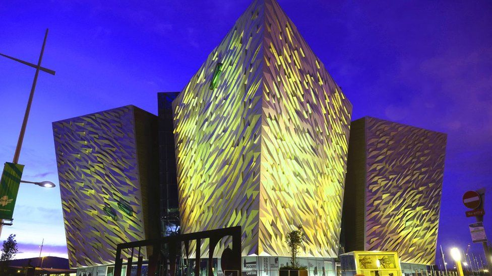 Titanic Belfast lit up in remembrance of those who have died during the Covid pandemic
