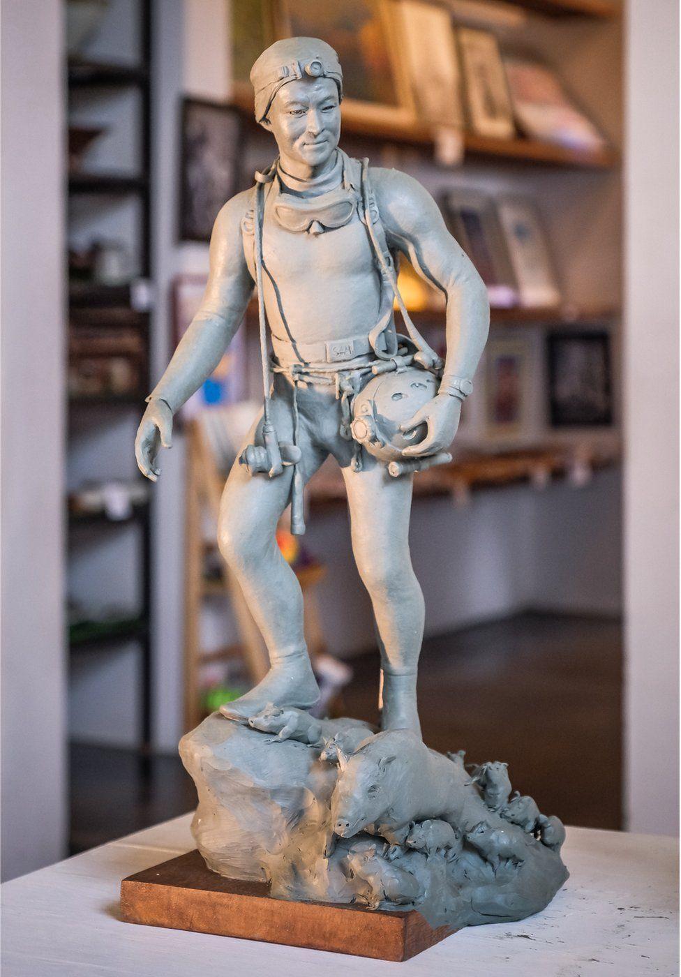A statue of work former Navy SEAL diver Saman Kunan at Art Bridge gallery in Chiang Rai, Thailand