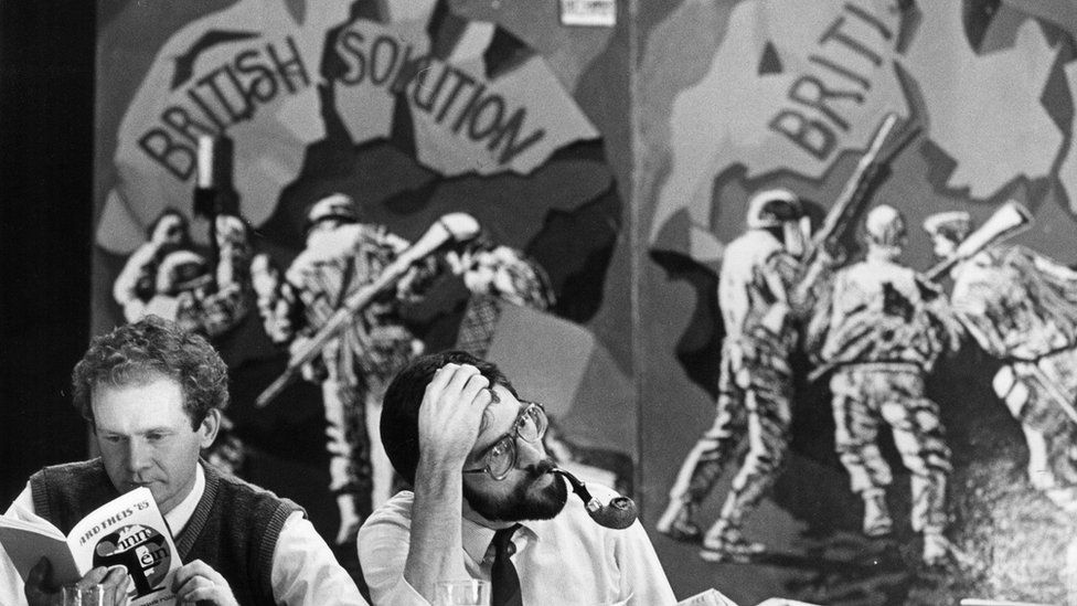 Martin McGuinness and Gerry Adams at a Sinn Féin Ard Fheis in 1985