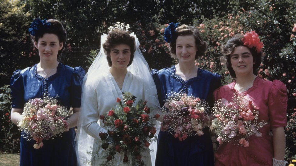 Margaret Holley, nee Scott, and her bridesmaids Phyllis, Iris and Mary, July 1945