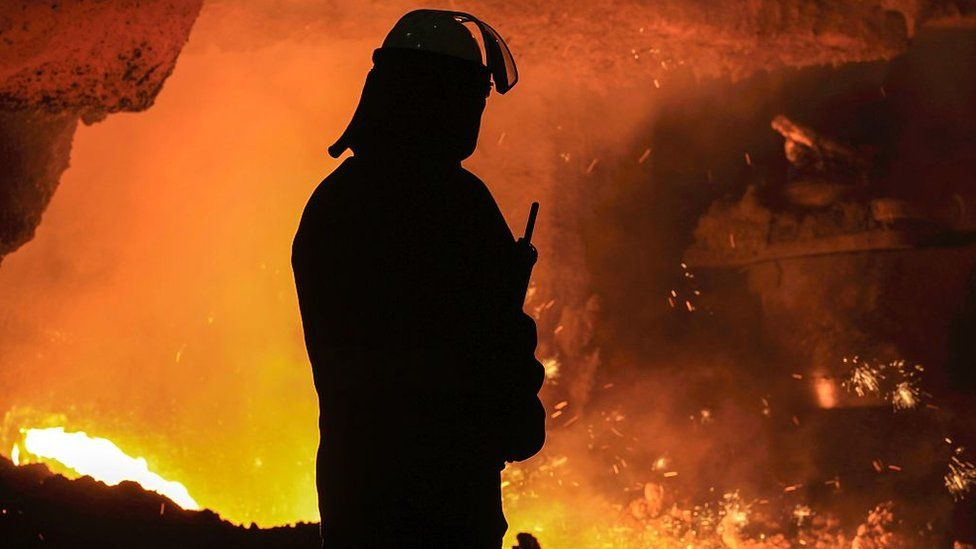 Steel production at British Steel's Scunthorpe plant