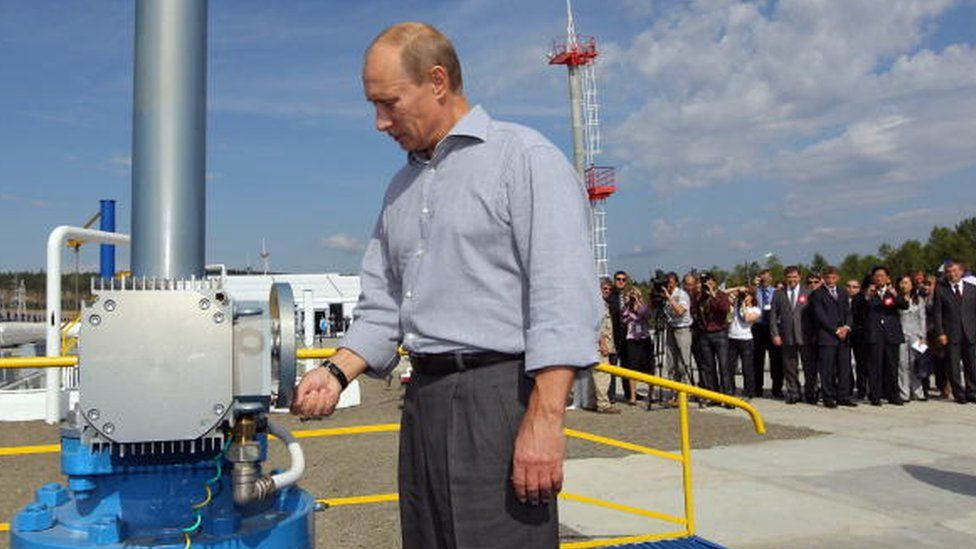Russian President Vladimir Putin attends the opening ceremony for a Russia-China oil pipeline in the far eastern region of Amur in 2010
