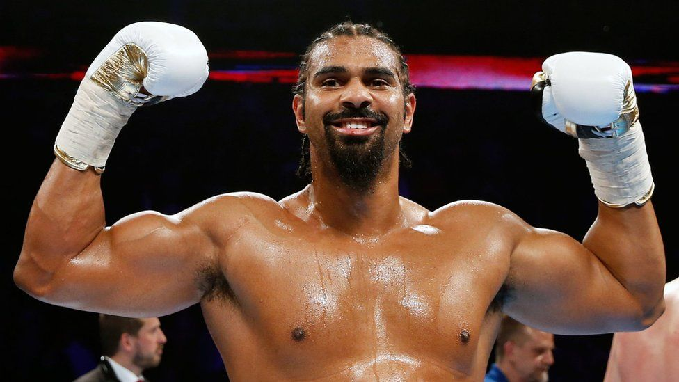 David Haye celebrates beating Arnold Gjergjaj in the second round of the Heavyweight contest at the O2 Arena, London. - 21 May 2016