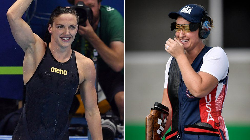 Swimmer Katinka Hosszu, left, and trap shooter Corey Cogdell-Unrein, right