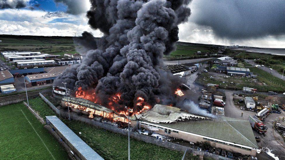 Aerial picture of fire in Maryport, Cumbria