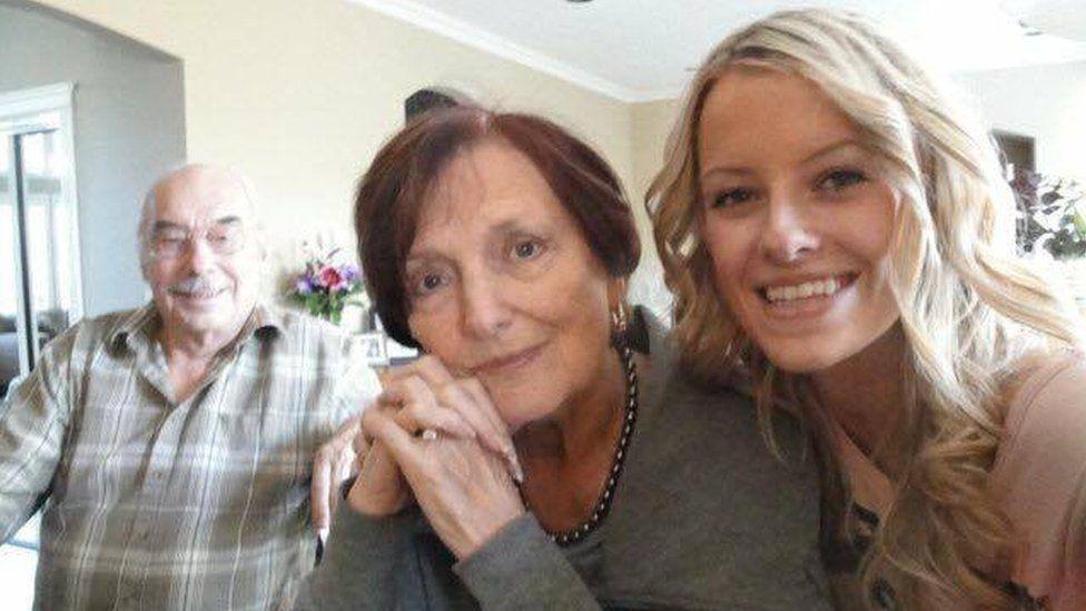 Wolfram (L) and Anita Gottschalk (R) with their granddaughter, Ashley Kaila Baryik.