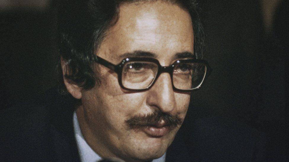 Abolhassan Banisadr at a press conference, circa 1980