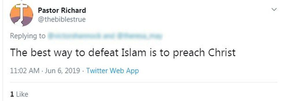 Tweet: The best way to defeat Islam is to preach Christ