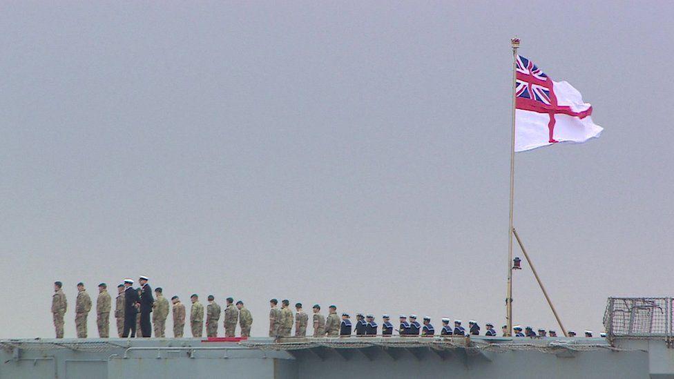 Junior sailors lined the vessel's decks