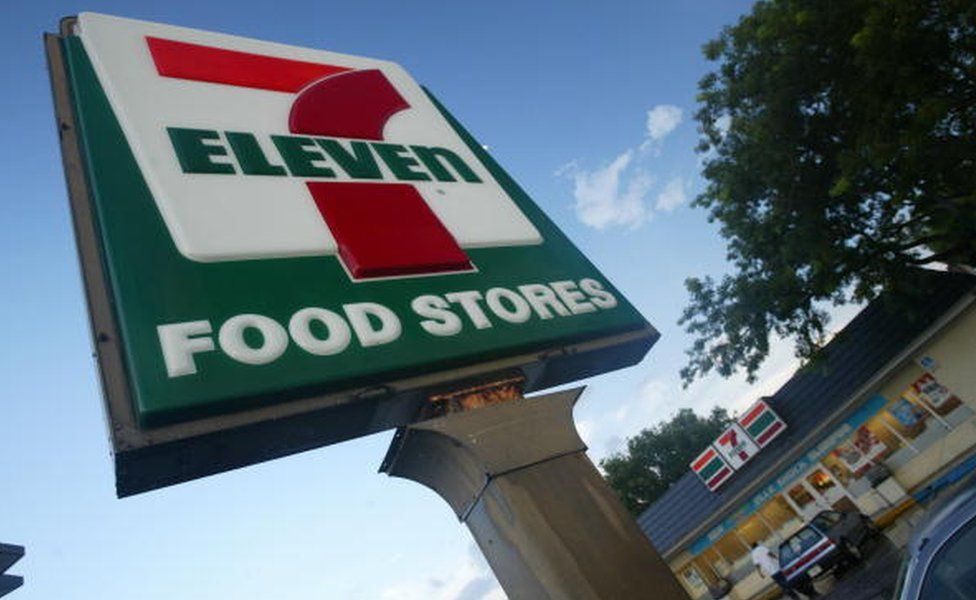 A 7-Eleven sign is seen on July 18, 2002 in Pembroke Pines, Florida. 7