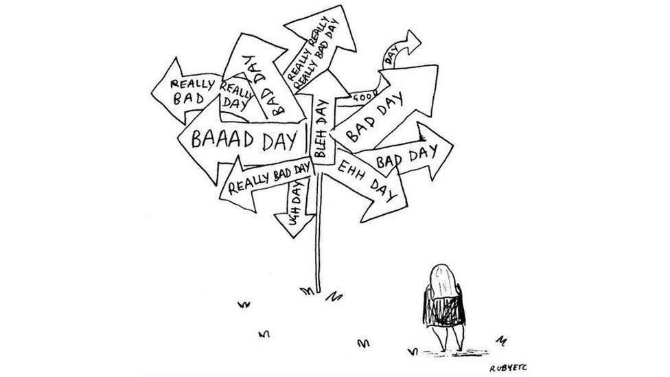 Rubyetc at the 'bad say' sign