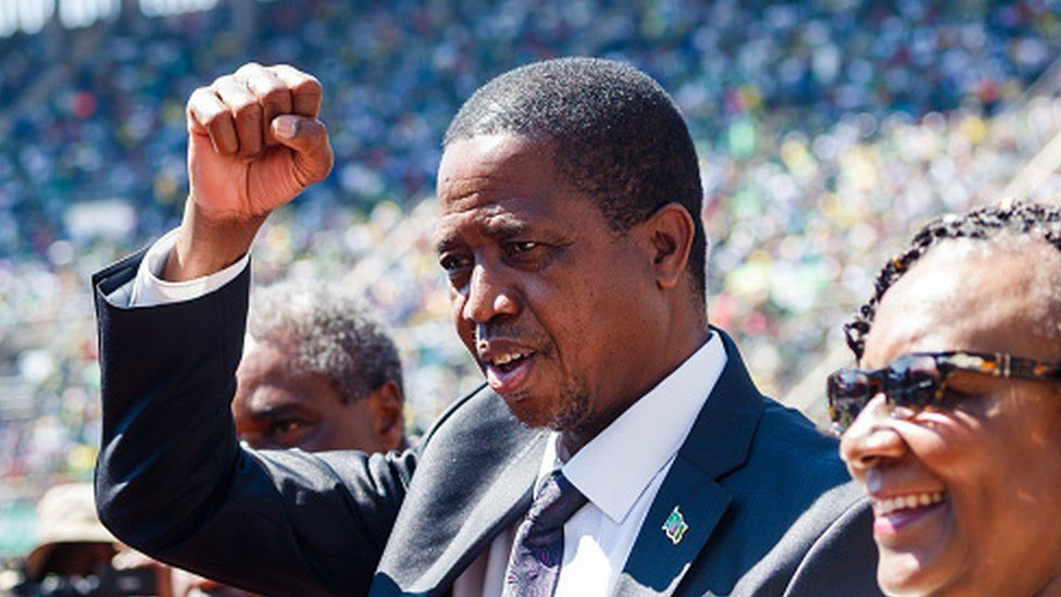Zambian President Edgar Lungu gestures as he arrives for the official inauguration ceremony of Emmerson Mnangagwa in Zimbabwe