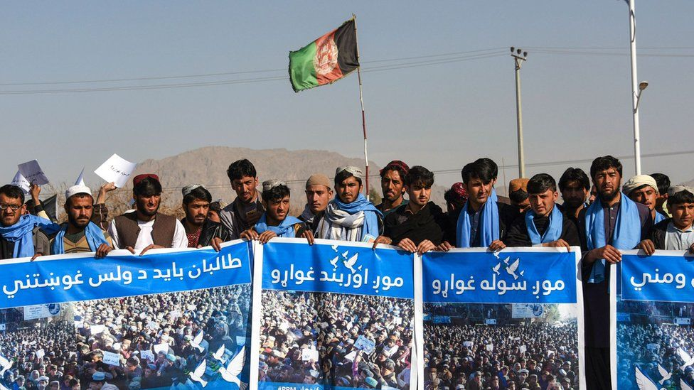 Afghan protesters march for peace and ceasefire in Kandahar province on 17 January 2019