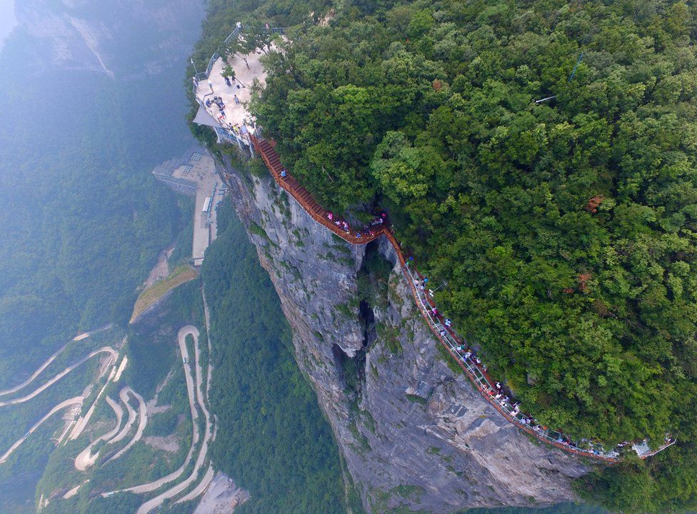 Aerial view of the walkway in Tianmen Mountain, China