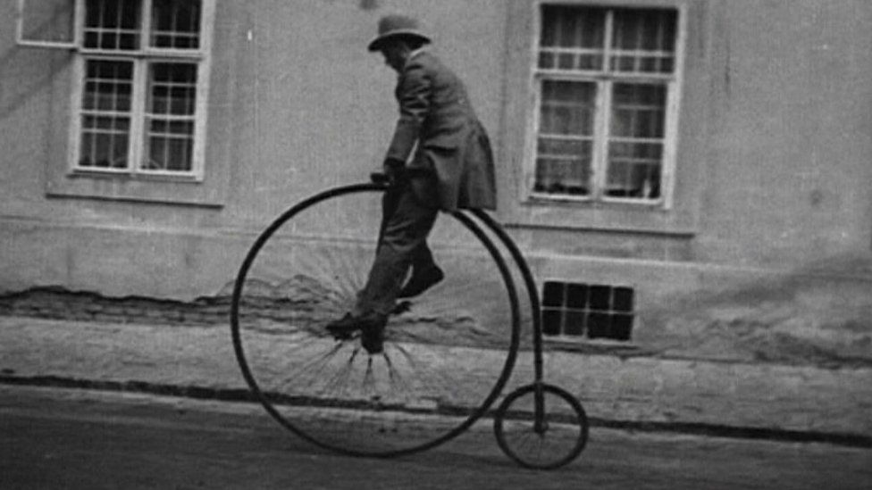 GP Mills riding penny farthing in 1886