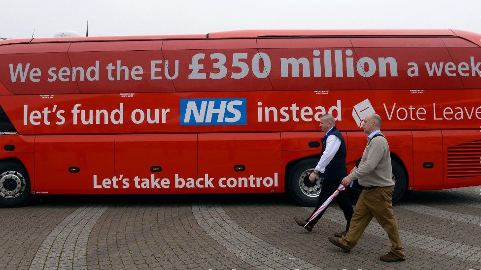 Vote Leave bus with £350m NHS claim