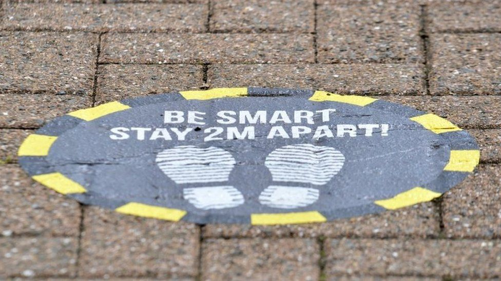 Sign asking people to stay 2m apart