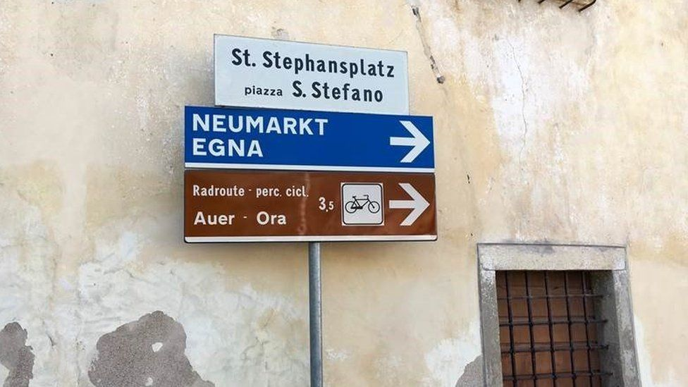 Signs in South Tyrol offer two versions of place names