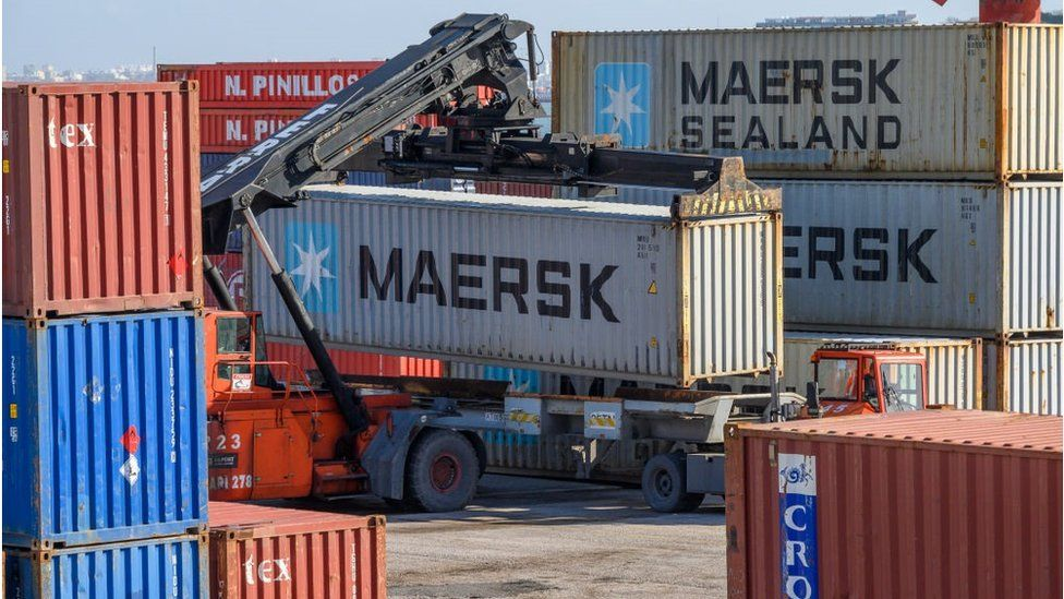 Maersk containers in Port of Lisbon