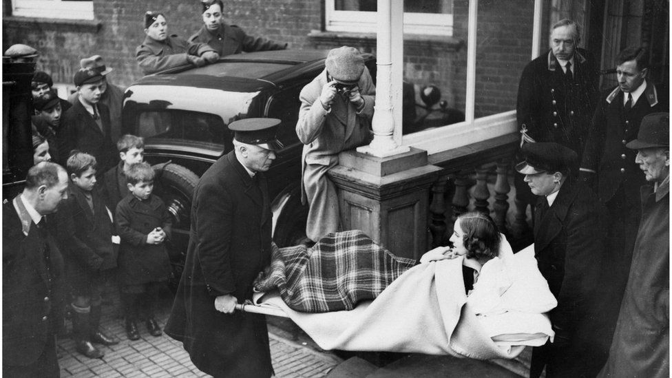 Unity Mitford being carried on a stretcher