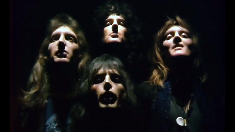 Queen in the video for Bohemian Rhapsody