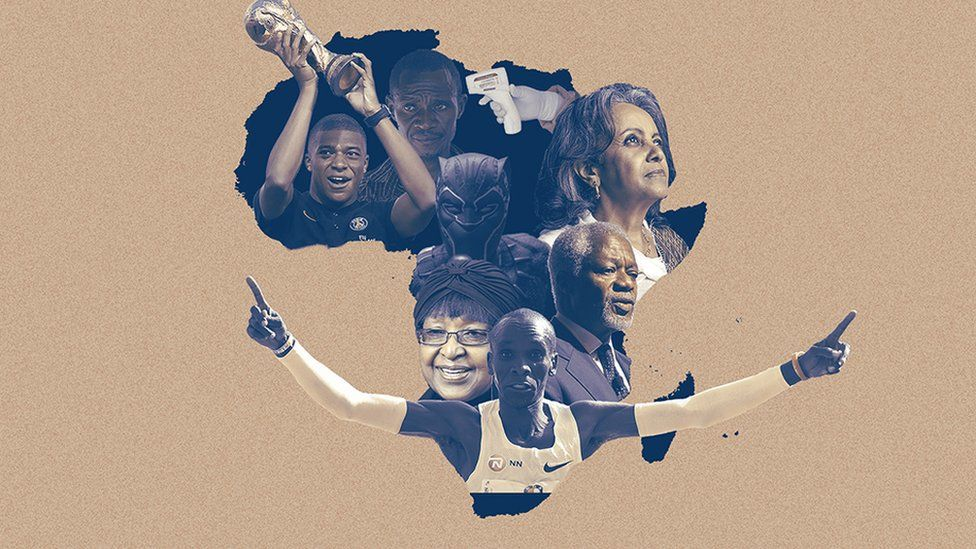 Montage of Africa map with key figures overlaid