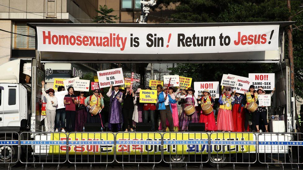 Anti-LGBT protesters at a rally in Seoul