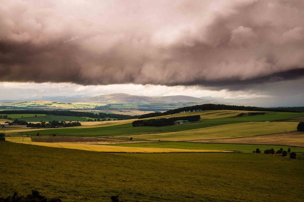 Storm cloud over Angus countryside
