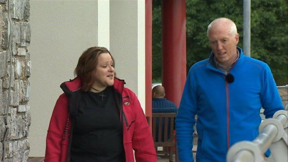 Malan Wilkinson with stranger Gwyn Jones who talked her down off a bridge