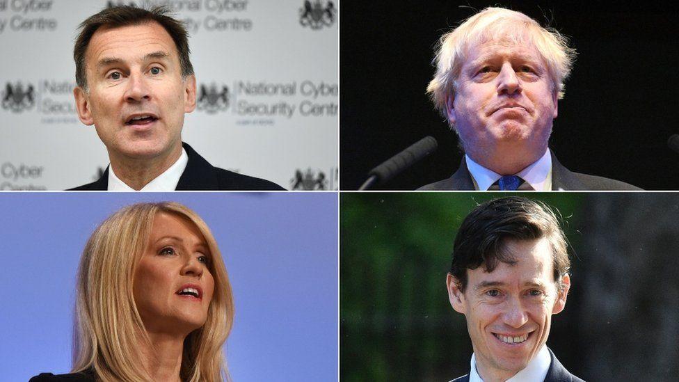 Jeremy Hunt, Boris Johnson, Rory Stewart and Esther McVey
