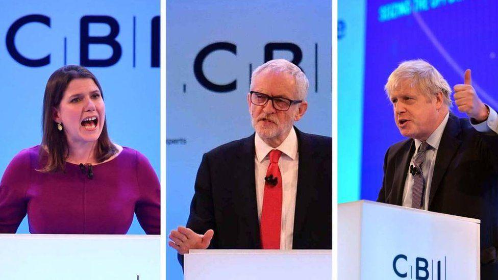 (Left to right) Jo Swinson, Jeremy Corbyn and Boris Johnson
