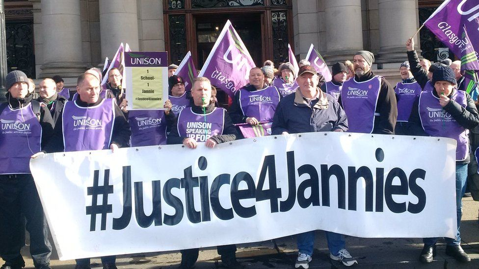 Janitors outside Glasgow City Chambers