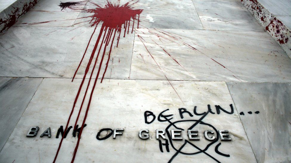 The Headquarters of the Bank of Greece are vandalised following violent protests which took place against the Government's austerity plans, February 13, 2012 in Athens, Greece.