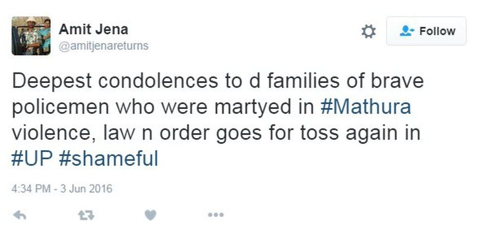 Deepest condolences to d families of brave policemen who were martyed in #Mathura violence, law n order goes for toss again in #UP #shameful