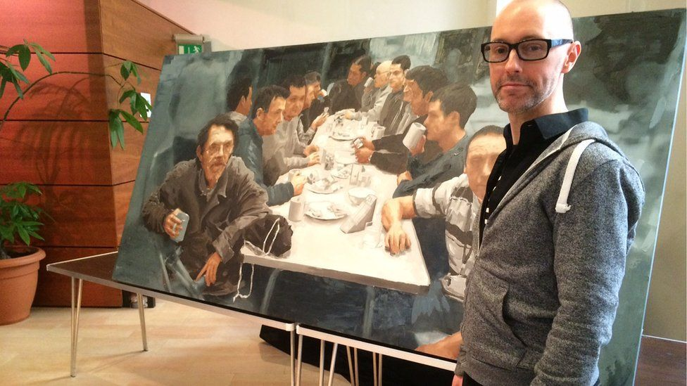 Artist Iain Campbell's painting will be on display in the church cafe