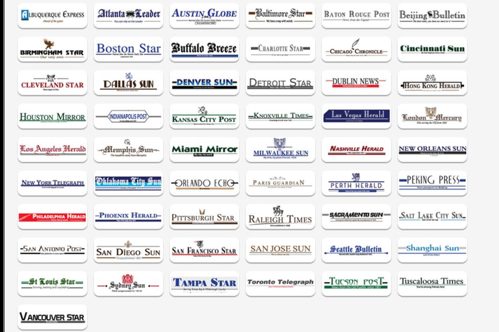screen shot of some of news sites the investigation found to be fake