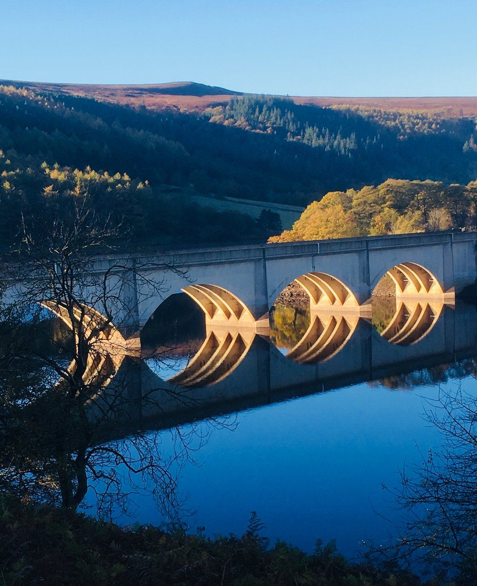 Ladybower Reservoir reflected in water