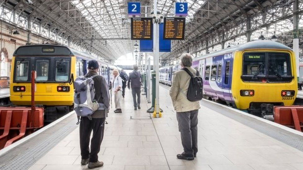Rail passengers at Manchester Piccadilly station
