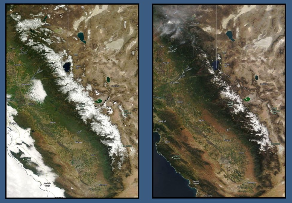 Satellite images of Sierra Nevada mountain range