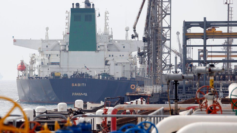 A Panamanian tanker docks at the platform of the oil facility at Kharg Island in Iran, 12 March 2017