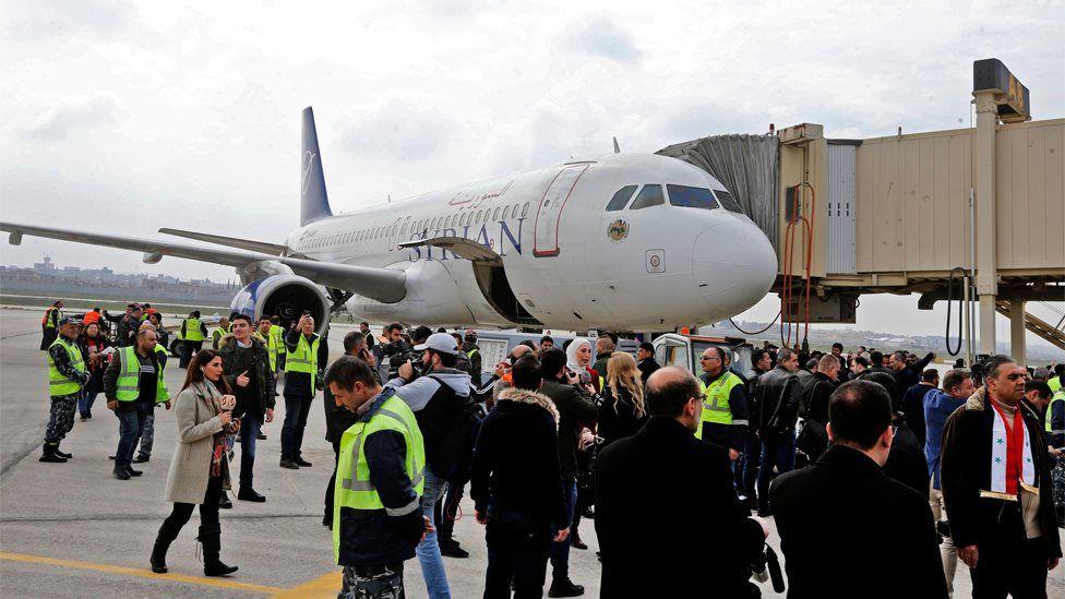 Syrian Air flight arrives in Aleppo on 19 February 2020
