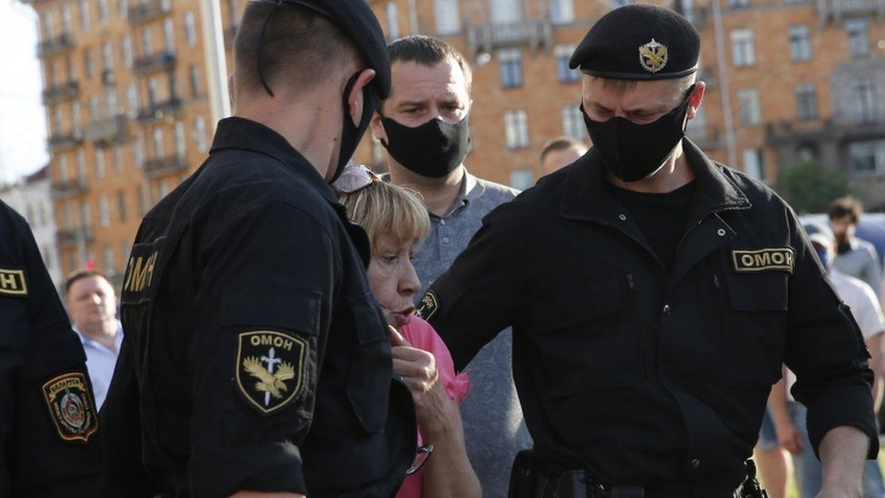 Protestors gathered on Friday in Minsk, Belarus before police moved in