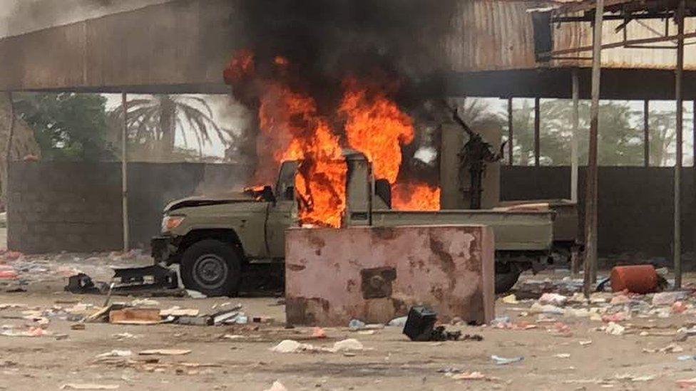 Vehicle on fire in al-Fazah near Hudaydah - 16 June