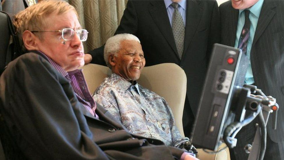 Hawking met many famous world figures, including Nelson Mandela in Johannesburg in 2008