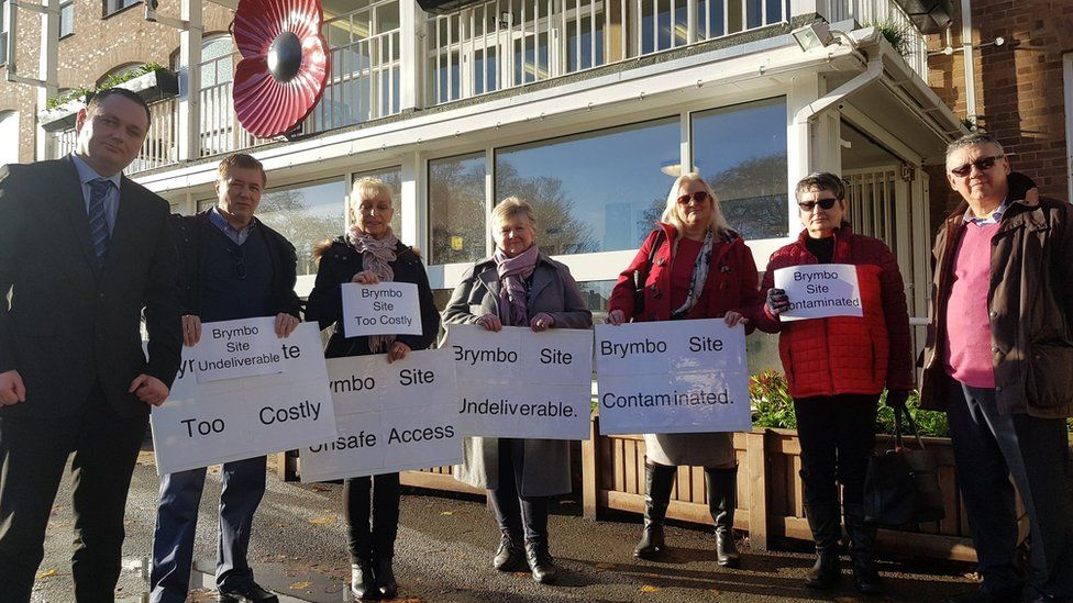 People from Brymbo protest at Wrexham council against plans for a traveller site